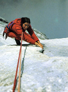 Josune Bereziartu during the first free ascent of Divina Comedia