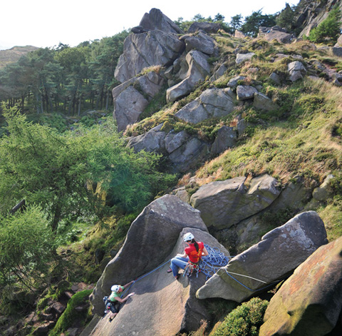 The roaches, staffordshire peak district, england climbing.