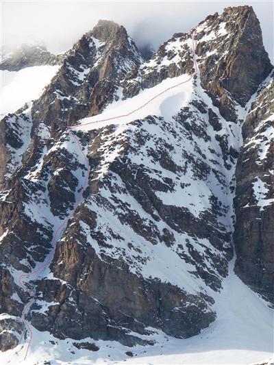 Punta di Ceresole (3777m), Canalone SE, – 600m, 40-45˚ con alcuni sezioni di 50˚, 5.2, E3., Glen Plake, Rémy Lécluse
