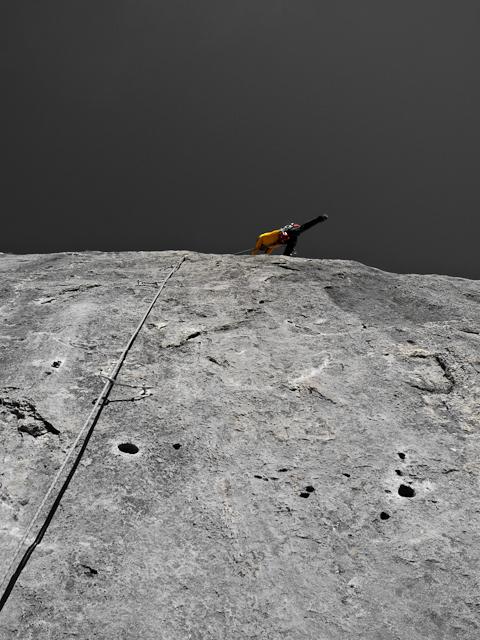David Lama su Woher Kompass, 8a+ 120m, Waidringer Steinplatte, Austria, Florian Klingler