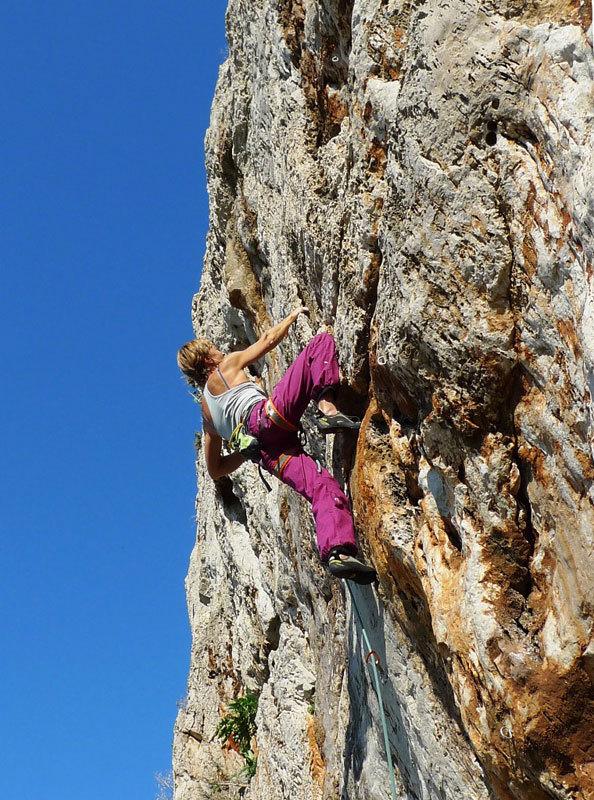 Nicoletta Costi climbing at Salinella - San Vito Lo Capo, Sicily, N. Noè