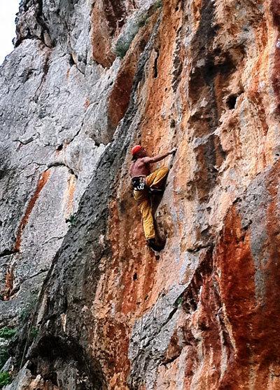 Nicola Noè climbing at Salinella - San Vito Lo Capo, Sicily, P. Napoli