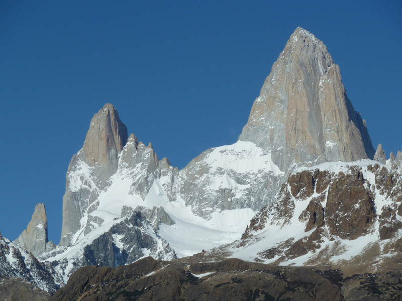 Aguja Poincenot and Fitz Roy from the road to Rio Electrico, Marcello Sanguineti