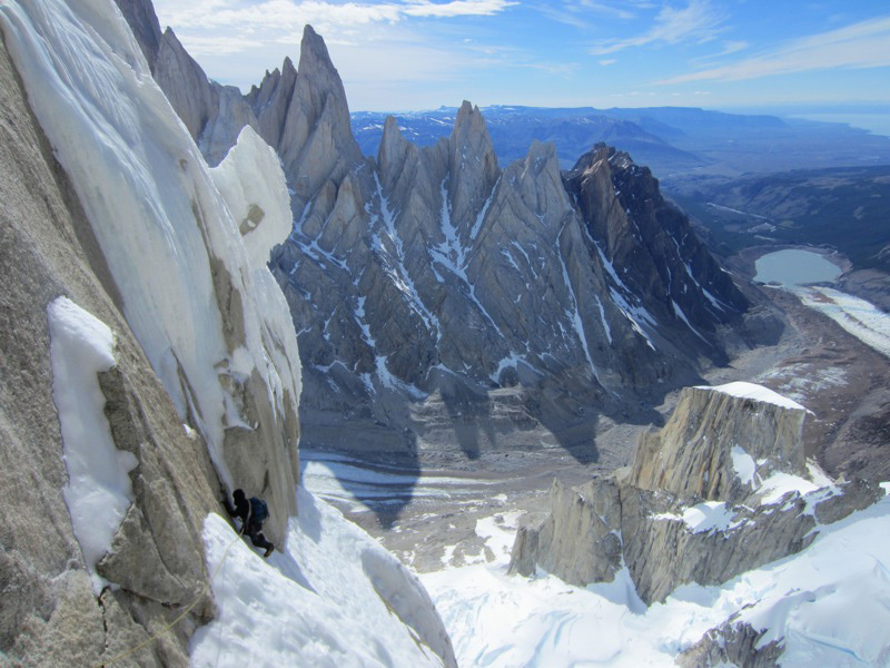 Colin Haley and Jorge Ackerman on El Caracol (500m, 5.9, A1+, M4), Cerro Standhardt, Patagonia., Colin Haley