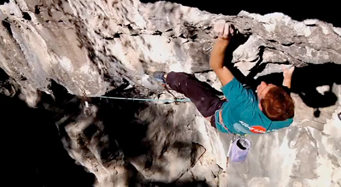 Gabriele Moroni climbing Bella Regis, 8c+, Bus de Vela, Trento Italy. , Gruppo Struktura