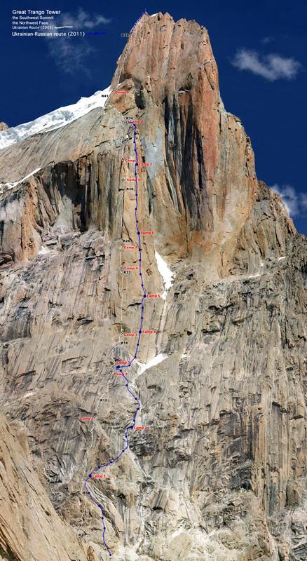 La linea della nuova via sulla parete NO del Great Trango Tower., Vadimir Mogila