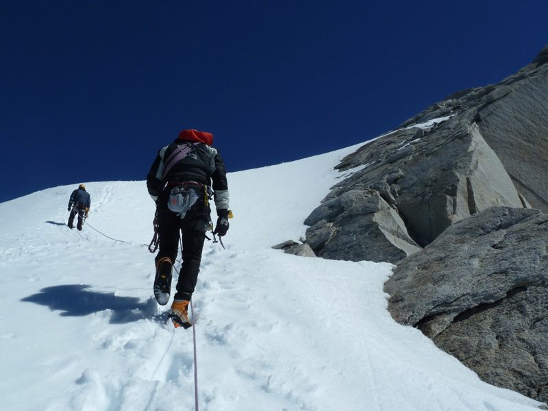 Exiting the route and on to the summit, Marcello Sanguineti