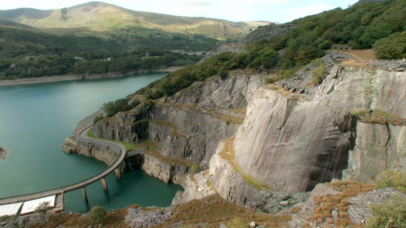 Rainbow Slab above Llanberis in Wales, the jewel in the crown of the abandoned slate quarry, forgotten by all except climbers., Bamboo Chicken Productions