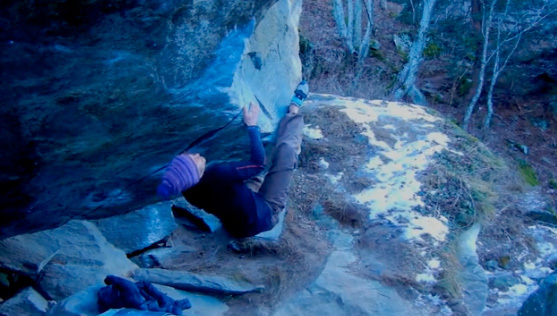 Katja Vidmar sending Petting with an alligator 8A+in the Maltatal, Austria,
