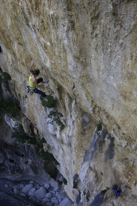Barbara Zangerl redpointing Hotel Supramonte (400m, 8b), Gola di Gorroppu, Sardinia. , Radek Capek