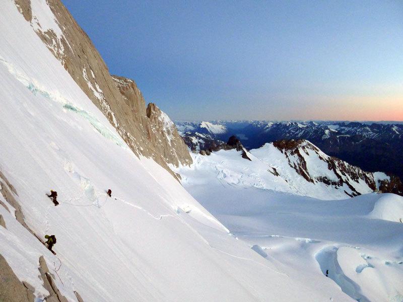 Aguja Poincenot, Patagonia. Il traverso iniziale, Damiano Barabino