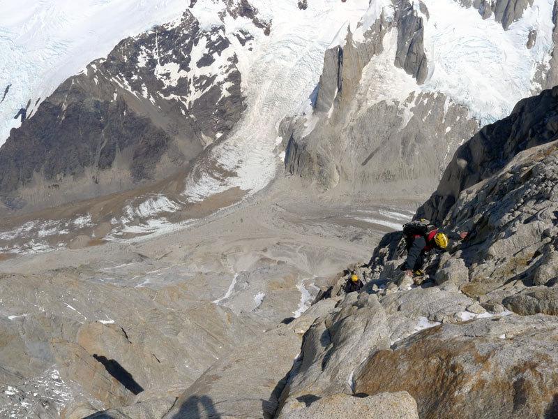 Aguja Poincenot, Patagonia. In uscita dalla sezione rocciosa, Christian Türk