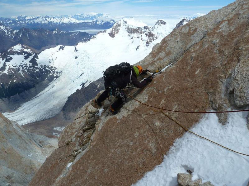 Aguja Poincenot, Patagonia. In uscita dalla sezione rocciosa, Marcello Sanguineti