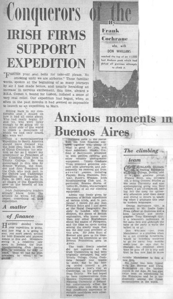 Spedizione 1962 - Il primo degli articoli sull'Irish, fonte Irish Indipendent