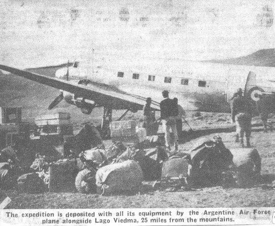 Spedizione 1962 - Arrivo sulle sponde del Lago Viedma, fonte Irish Indipendent
