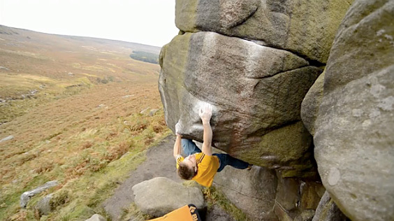 Chris Webb Parsons during his training on the gritstone at Burbage and in England's gyms.,