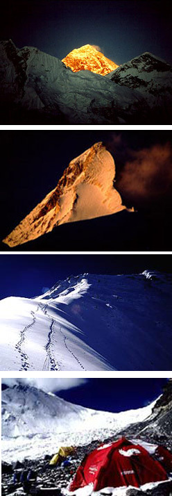 Foto 1: La piramide dell'Everest dal versante Sud. Foto 2: Il Khan Tengri (m. 7.010). Foto 3: A 8000 mt, sulla Cresta Nord dell'Everest. 4: Campo base avanzato all'Everest versante Nord, Simone Moro