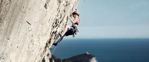 Jenny Lavarda climbing at Muzzerone for Poets in Action, JengaFilm