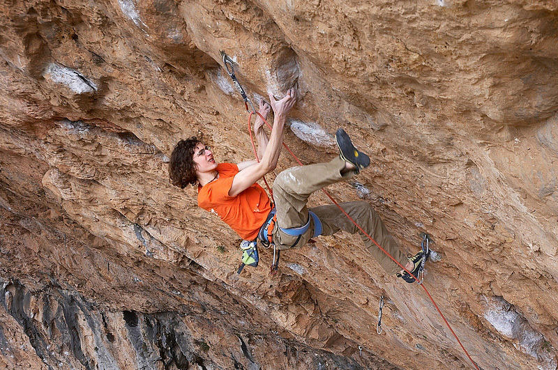 Adam Ondra on Directa Open Your Mind 9a/a+ (Ramon Julian 2008, Santa Linya, Spain, Vojtech Vrzba