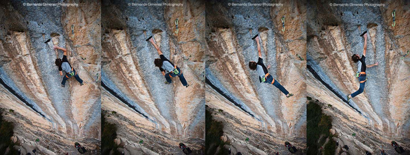 Adam Ondra su Three Degrees of Separation 9a (Chris Sharma 2007, Ceuse, France), Bernardo Gimene