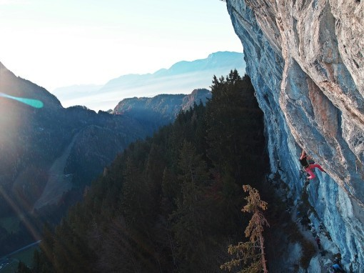 Roland Hemetzberger climbing Goldenpearl 8b+/8c, Achleiten, Austria, archive Hemetzberger