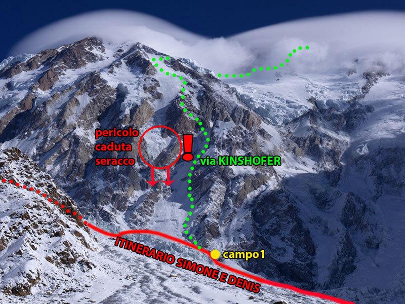 Il percorso seguito da Simone Moro e Denis Urubko il 12/01/2012 per installare il campo 1 del loro tentativo invernale alla parete Diamir del Nanga Parbat., Moro - Urubko