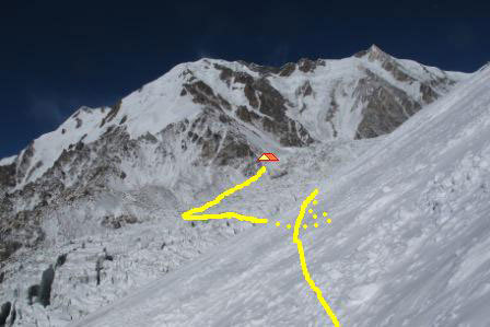Camp 1 established by Simone Moro and Denis Urubko on 12/01/2012 on the Diamir Face, Nanga Parbat., Moro - Urubko