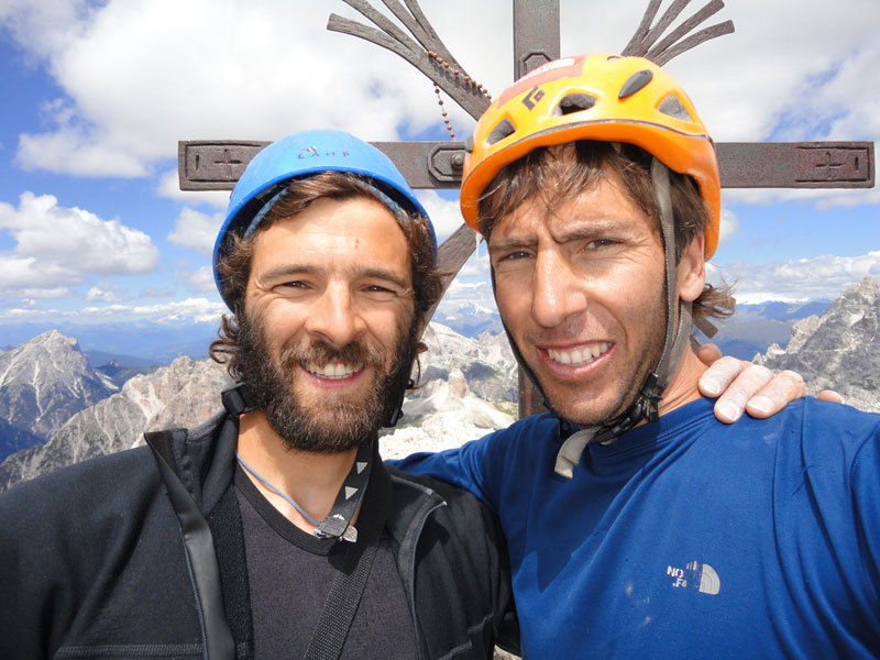 Andrea Di Donato and Andres Zegers after an ascent in the Dolomites., Andrea Di Donato