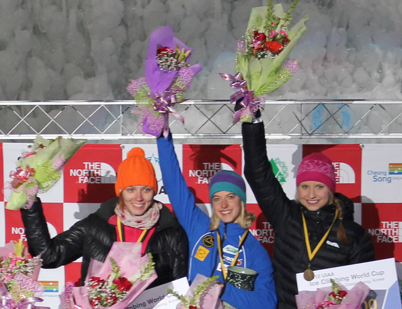 The podium of the first stage of the Ice Climbing World Cup 2012 which took place in Cheongsong (Korea) on 14-15/01/2012. Angelika Rainer in the centre.,