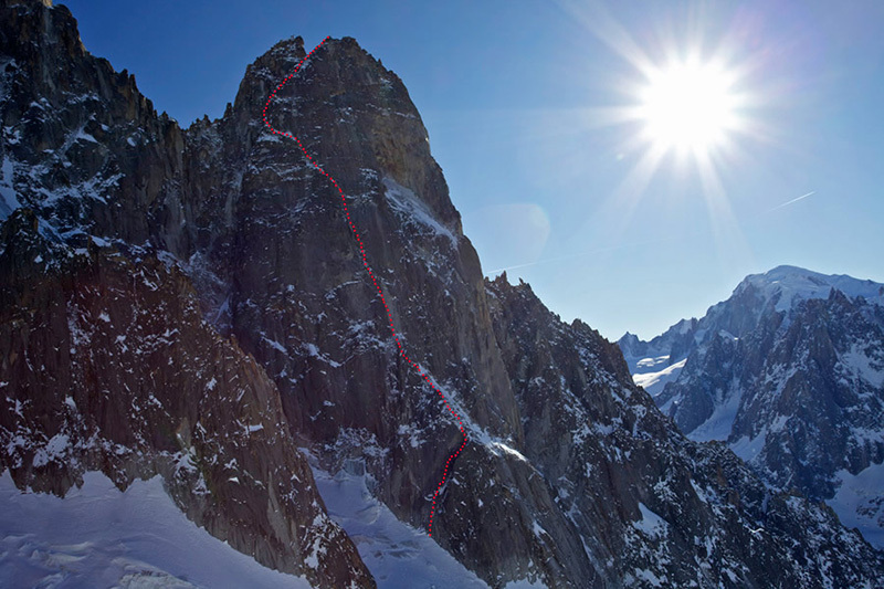 Voie Lesueur, Ueli Steck and Jonathan Griffith on Petit Dru, Jonathan Griffith