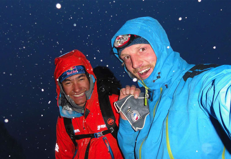 David Lama and Peter Ortner on the Compressor Route, Cerro Torre, during their attempt in February 2011. archivio David Lama