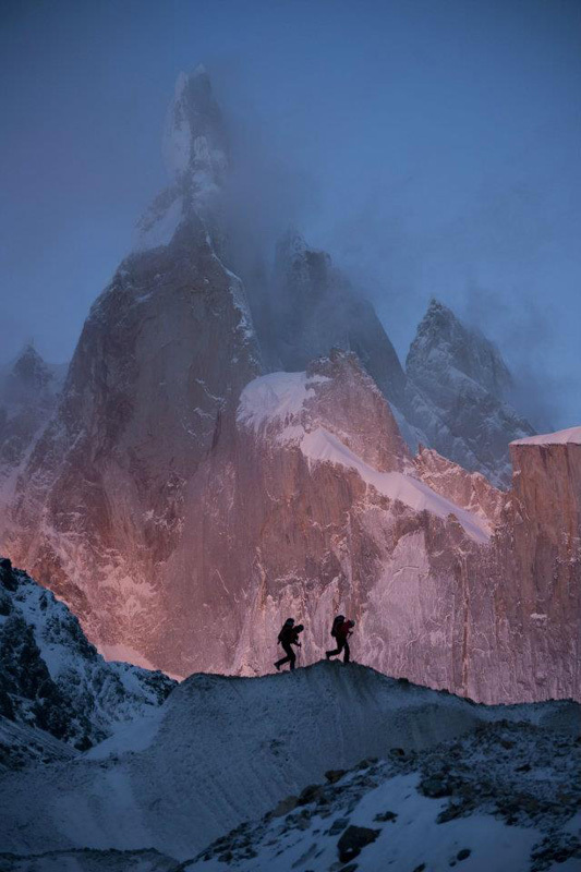 David Lama and Peter Ortner below Cerro Torre, February 2011., Corey Rich/Red Bull Content Pool