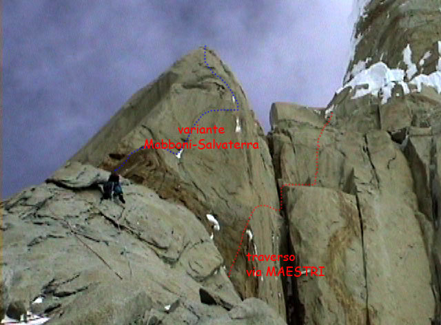 The line of ascent taken by the Salvaterra-Mabboni variation and the Maestri traverse on the Compressor route, Cerro Torre, Patagonia, Ermanno Salvaterra