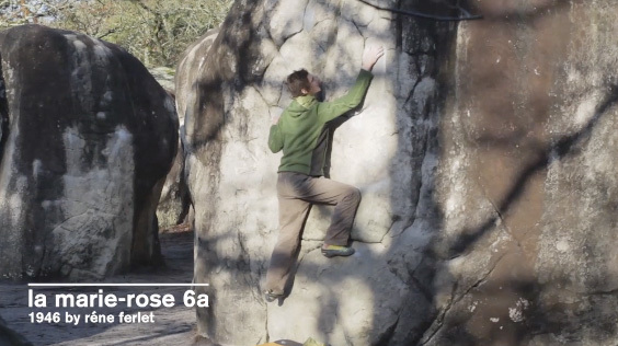 Adam Ondra on La Marie-Rose, the first 6A at Fontainebleau established in 1946 by René Ferlet., Alvi Pakarinen