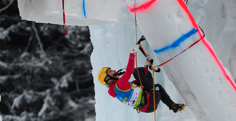 Angelika Rainer competing in the Marmot Icefight 2012 at Corvara,
