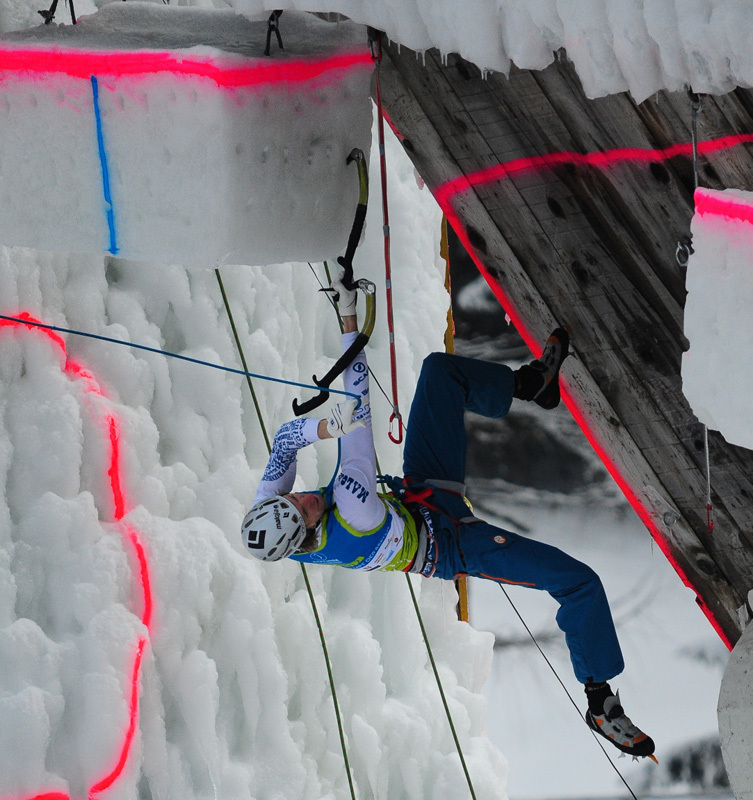 Markus Bendler competing in the Marmot Icefight 2012 at Corvara,