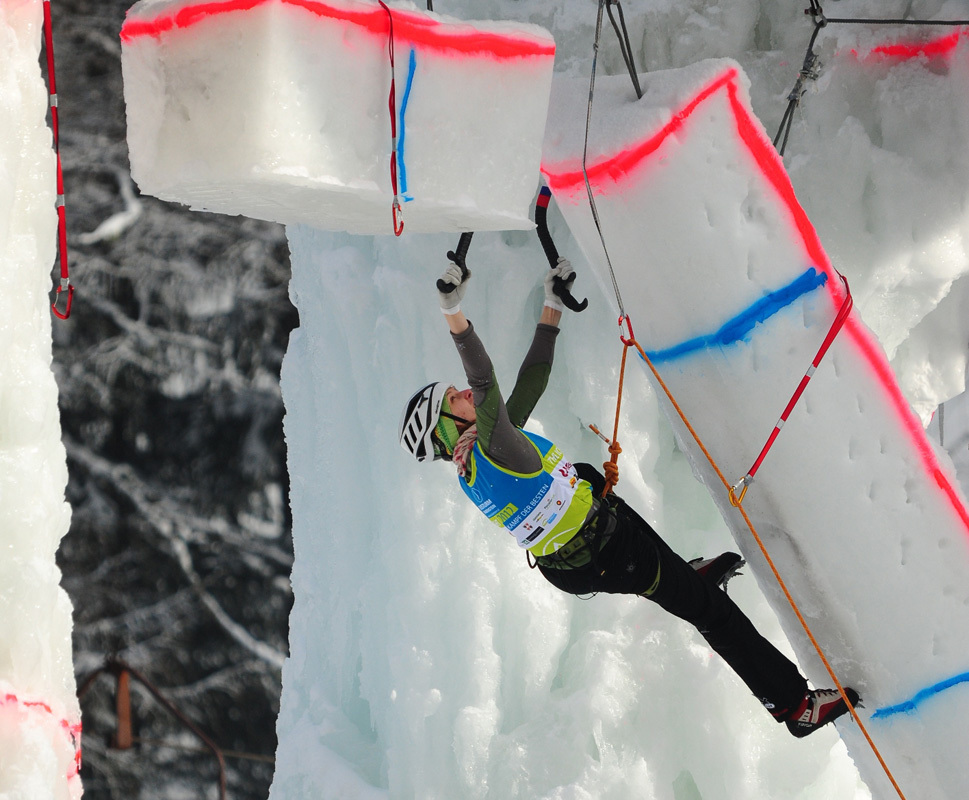 Anna Gallyamova competing in the Marmot Icefight 2012 at Corvara,
