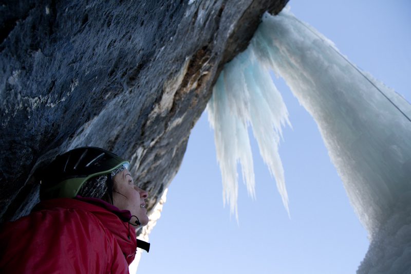 Ines Papert and Lisi Steurer during the first female ascent of Illuminati (M11+ WI6+) Val Lunga, Selva Gardena (Italy), Hans Hornberger