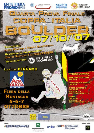 Il 7/10 alla Fiera di Bergamo è in programma la tappa finale della Coppa Italia Boulder 2007., Planetmountain.com