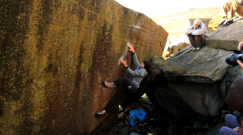 Paul Robinson climbing Brad Pitt 7C+ at Stanage in England.