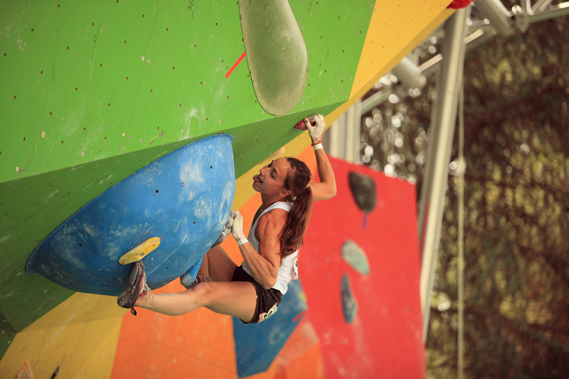 The French climber Alizée Dufraisse competing in the World Championship 2011 in Arco, Anna Piunova