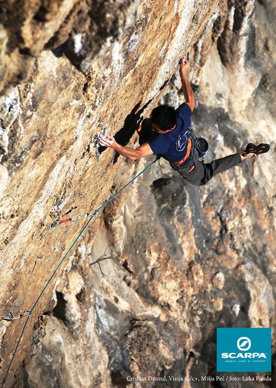 Cristian D'Anzul climbing Vizija 8c/c+ at Misja Pec, Slovenia, Luka Fonda