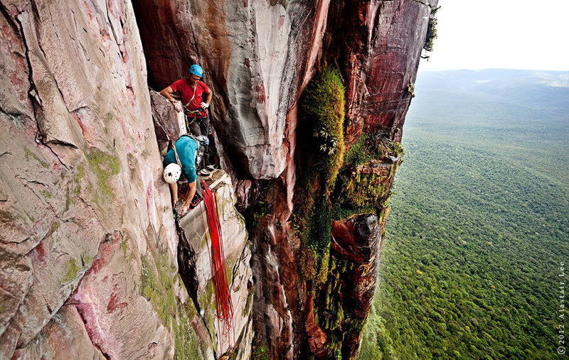 Jungle belay on Cerro Autana, Venezuela, Alastair Lee