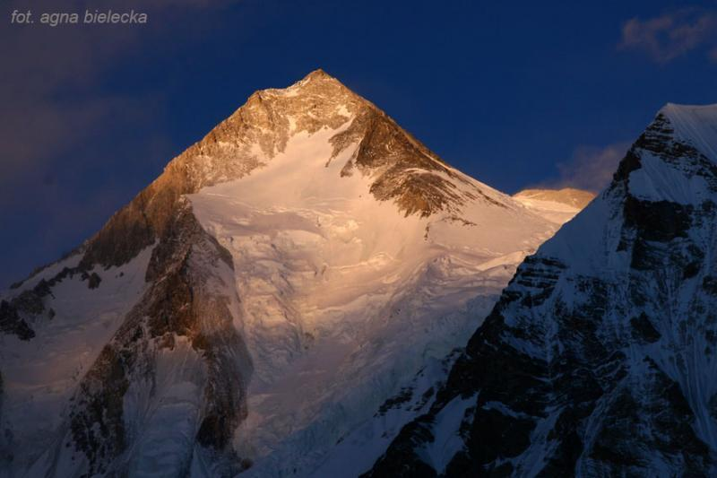 Gasherbrum 1 at sunset, Polish Winter Himalaya Climbing 2010-2015