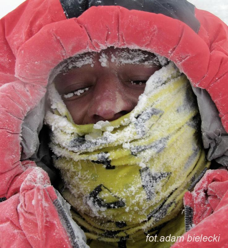 Adam Bielecki after his descent to Camp 2, Polish Winter Himalaya Climbing 2010-2015