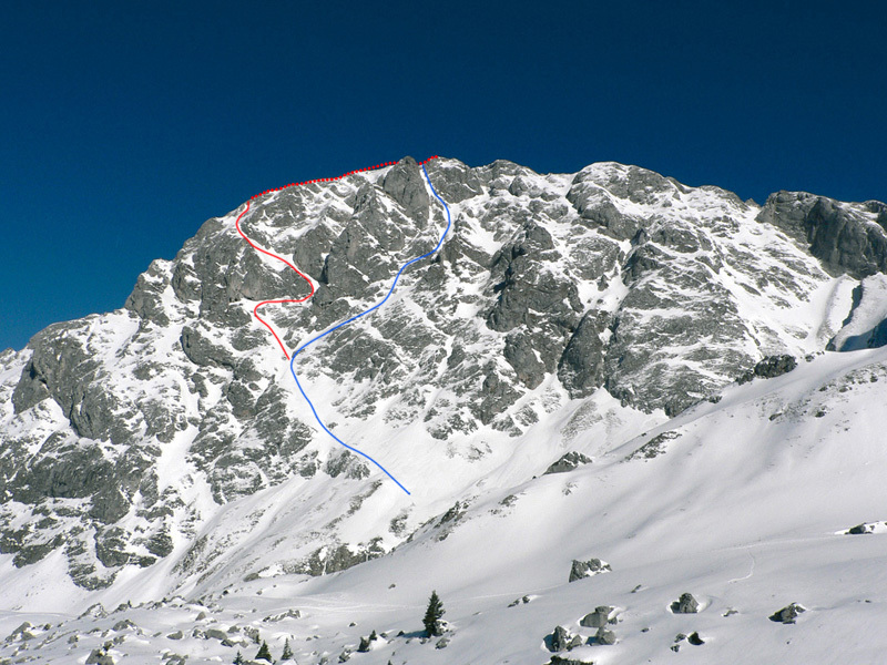 Dent Doche South Face. The new descent in red, the S Face direct in blue., archivio Sébastien de Sainte Marie
