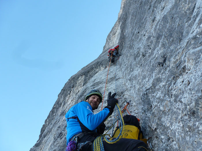 Onl 2-3/03/2012 Maurizio Panseri, Daniele Natali and Alessandro Ceribelli carried out the first winter ascent of the via Direttissima up the Presolana North Face.,