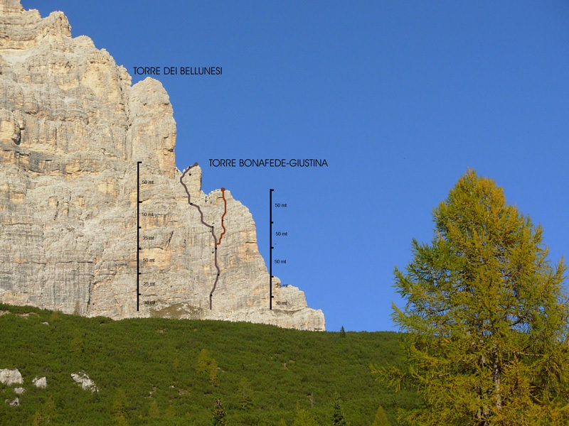 The Torre dei Bellunesi on Monte Pelmo with the two routes established by Paolo Michelini, Paolo Michielini