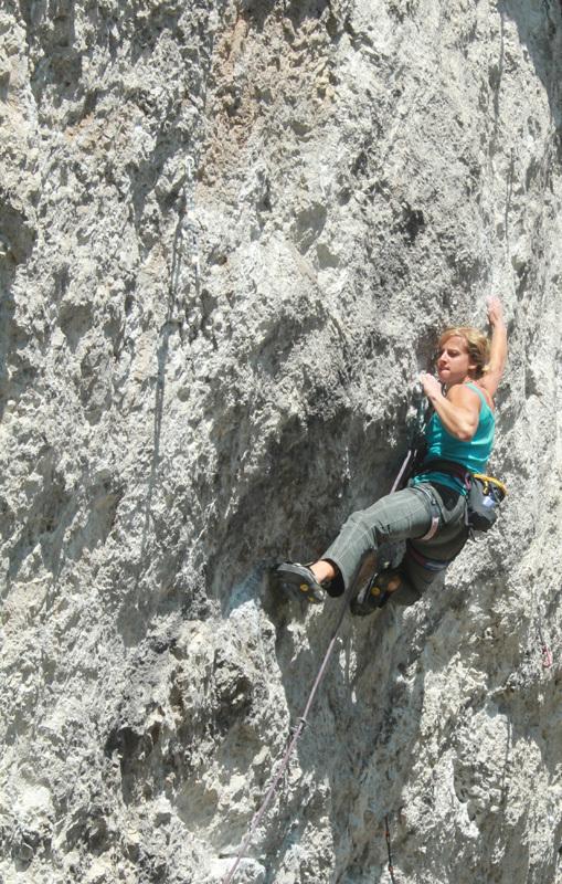 Angelika Rainer climbing Non mollare 8b+, Pian Schiavaneis, Dolomites, Marco Servalli
