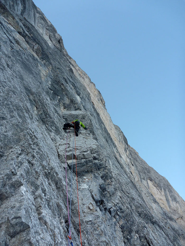 On 16/03/2012 Daniele Natali and Tito Arosio carried out the first winter ascent of Via Paco., archivio Arosio & Natali